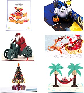 Paper Spiritz Pack of 6 Pop Up Christmas Card - 3D Card Holiday Card Halloween Thank You Christmas Card - 6 PCS Envelopes ...