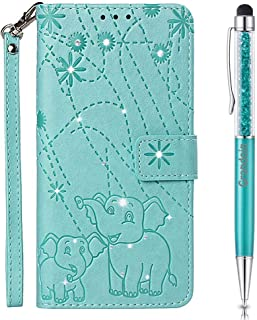 Lucifa Case for Huawei Honor 8C,[Elephant Series] Bling Sparkly Diamonds Gems Premium PU Leather Magnetic Flip Cover with Card Holders Wallet Case Full Protection (Green)