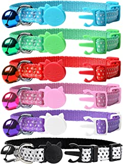 EXPAWLORER 6 Pcs Wave Point Adjustable Cat Collars Colorful Nylon Breakaway Safety Pet Collar with Bells