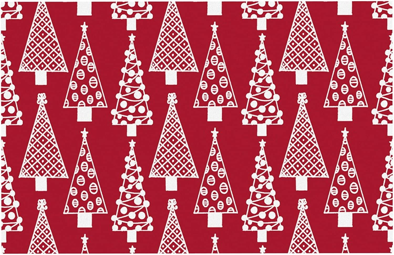 KESS InHouse EO1019CDM02 Emine Ortega Jolly Trees Red Crimson Dog Place Mat, 24  x 15