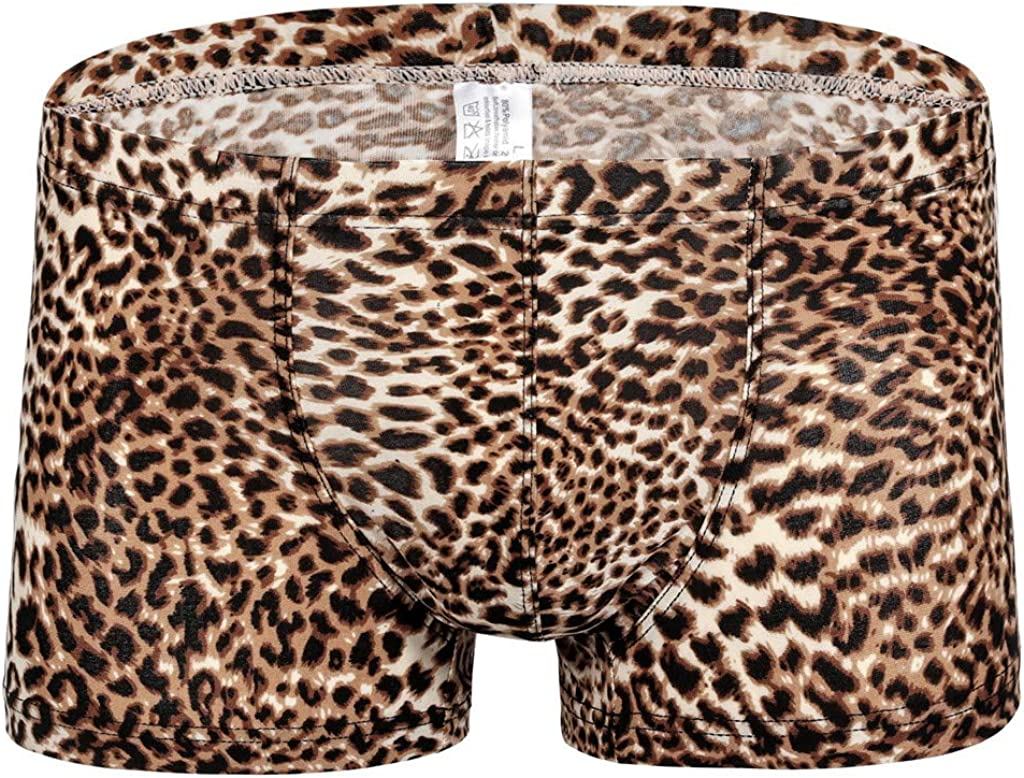 Men's Boxer Briefs Low Rise Sexy Leopard Print Underwear Man Shorts Underpants and Tank Top,MmNote