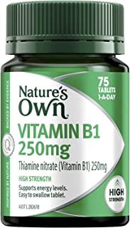 Nature's Own Vitamin B1 250mg - Aids Glucose Metabolism - Assists in Energy Production - Supports Nervous System, 75 Tablets