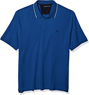 Nautica Men's Big and Tall Classic Fit Short Sleeve Solid Tipped Collar Soft Polo Shirt
