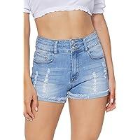 Deals on Hocaies Womens Stretchy Denim Folded Hem Curvy Fit Jeans