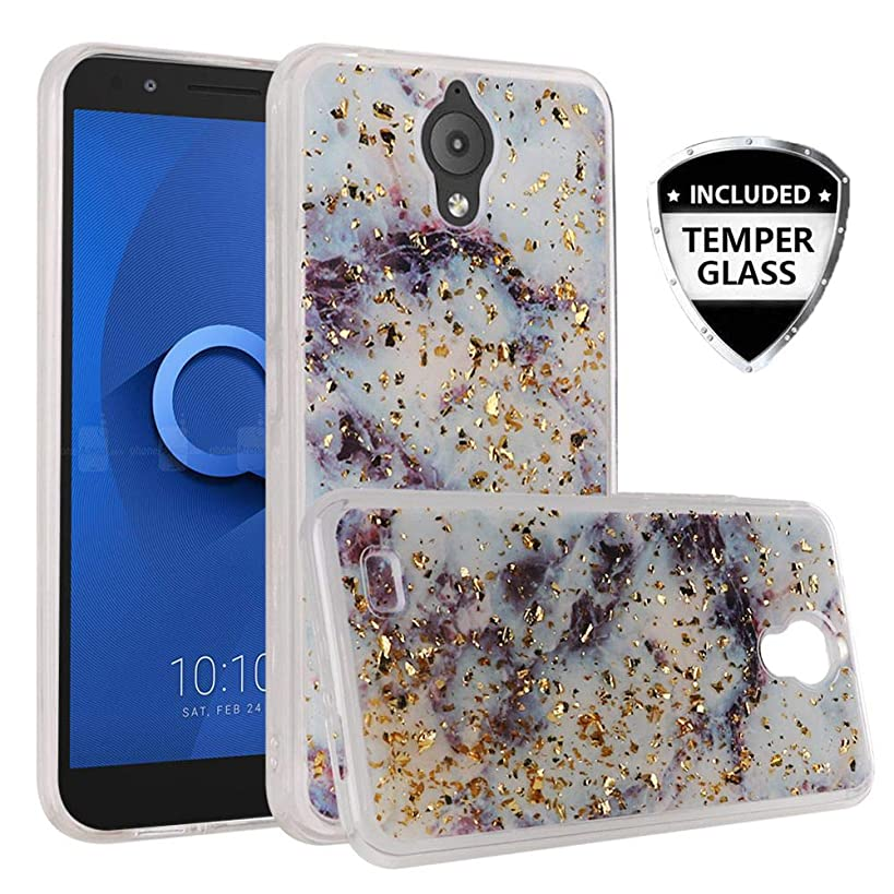 AT&T Axia Case QS5509A, Cricket Vision Case, with [Temper Glass Screen Protector] SOGA Glitter Cute Girl Womens Protective Hybrid Phone Cover Shockproof (Purple Marble)