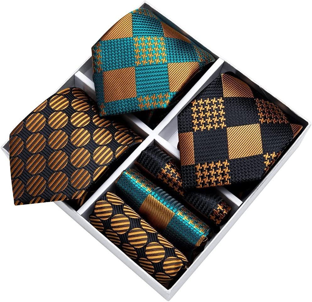 LQGSYT Gift Box Men's Tie Set Formal Wedding Business 3 Pack Black Gold Green Men Necktie Hanky Cufflinks (Color : Black Gold Green, Size : One Size)