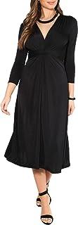 KRISP - Vestito da donna, corto, taglia grande, per matrimonio, serata, cocktail, festa, elasticizzato, effetto plissettat...