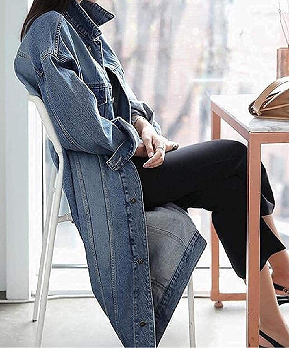 Women's Plus Size Trench Coat Long Loose Overcoat Denim Jacket
