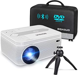 BIGASUO [2021 Upgrade] Bluetooth Full HD Projector Built in DVD Player, Portable Mini Projector 5500 Lumens Compatible wit...