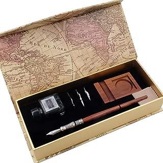 GC Antique Wooden Stem Pen Handcrafted Calligraphy Pen Set Dip Nib Pens-Writing Case With Black Ink Pen Wooden Holder Cartridges LL-182