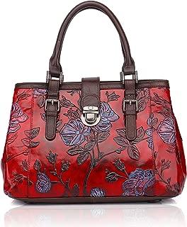 APHISON Designer Unique Embossed Floral Cowhide Leather Tote Style Ladies Top Handle Bags Handbags C817