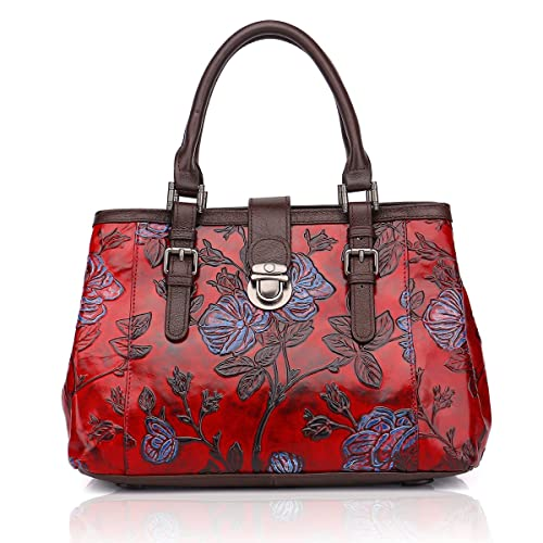 1b0c679188873 APHISON Designer Unique Embossed Floral Cowhide Leather Tote Style Ladies  Top Handle Bags Handbags C817
