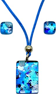 Murano Glass Set of Rectangle Pendant and Earrings (Blue)