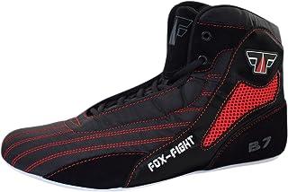 FOX-FIGHT B7 - Scarponi da boxe, per atletica, fitness, palestra, bodybuilding, alta qualità, colore: nero e rosso