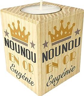 Gravure Events Bougie personnaliséeNounou en Or – Porte Bougie en Bois personnalisé avec Le prénom – Cadeau de Fin d'anné...