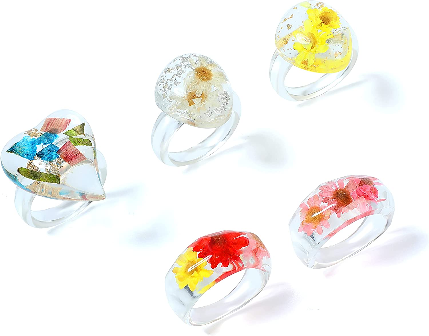 Buleens 10pcs Resin Rings Set for Women Cute Flower Anillos Chunky Acrylic Vintage Plastic Finger Ring Jewelry Stackable Colorful Fruit Clear Fun Enamel Dainty Daisy Size 6 8 Square Band