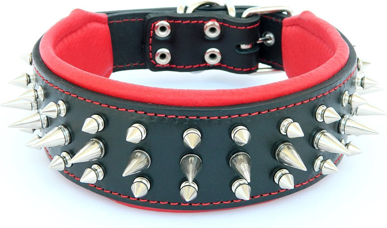 Bestia  Danger  genuine leather dog collar with screw spikes and soft leather cushion. 2.5 inch Wide. Durable. Longlasting. Padded. Pitbull. Bulldog. Bully. APBT. redtweiler. Cane corso. Handmade in Europe