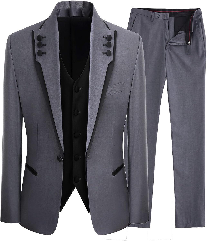 LILIS Men's Ranking TOP7 Fashion Gray 3 Pieces Men Wedding Elegant One Bu Suits