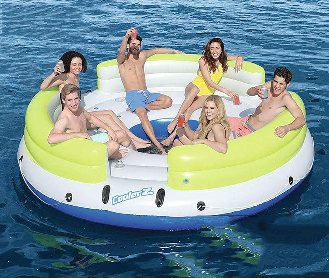 もの予想外数学者インフレータブルボート大人の浮遊ベッド8-10人水のレクリエーションとレジャーのフローティングアイランドポータブルビーチバックリクライニングチェア夏水泳水遊び