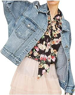 Judi Women Fashion Denim Coat Long Sleeve Casual Jacket Lightweight Comfortable Short Overcoat with Pocket
