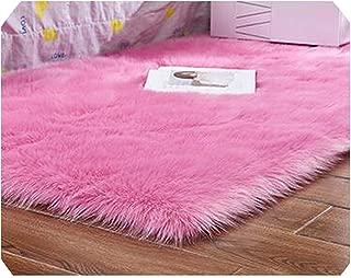 Drem-wardrobe Carpet Rectangle/Square Garnish Faux Mat Seat Pad Plain Skin Fur Plain Fluffy Area Rugs Washable Home Textile,Rose Red,70X180Cm