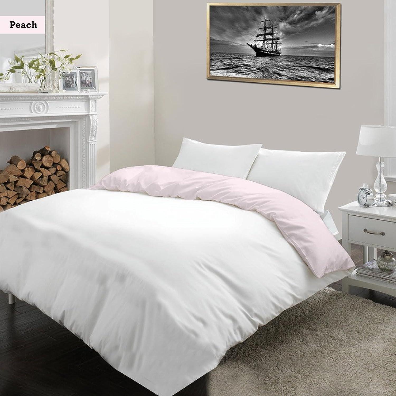 Noble Comfort Linen Luxe Ultra Doux et Soyeux 100% Coton égypcravaten 1pcs réversible Ensemble Housse de Couette Blanc et Rose Couleur, 1000TC UK King Taille Solide Motif