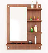 Anikaa Mavis Dressing Table/Wall Mirrorwith Shelves (Walnut)