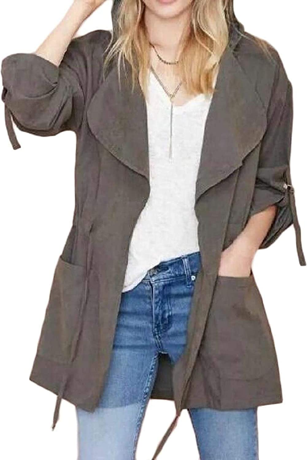 Women's Dedication Casual Drawstring Solid Color Hooded Luxury goods Length C Trench Mid