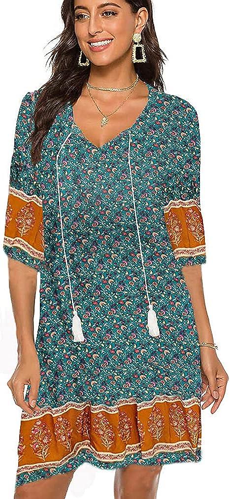 Halife Women's Vintage Ethnic Style Printed Tassel Tie Neck Loose Fit Bohemian Tunic Dress