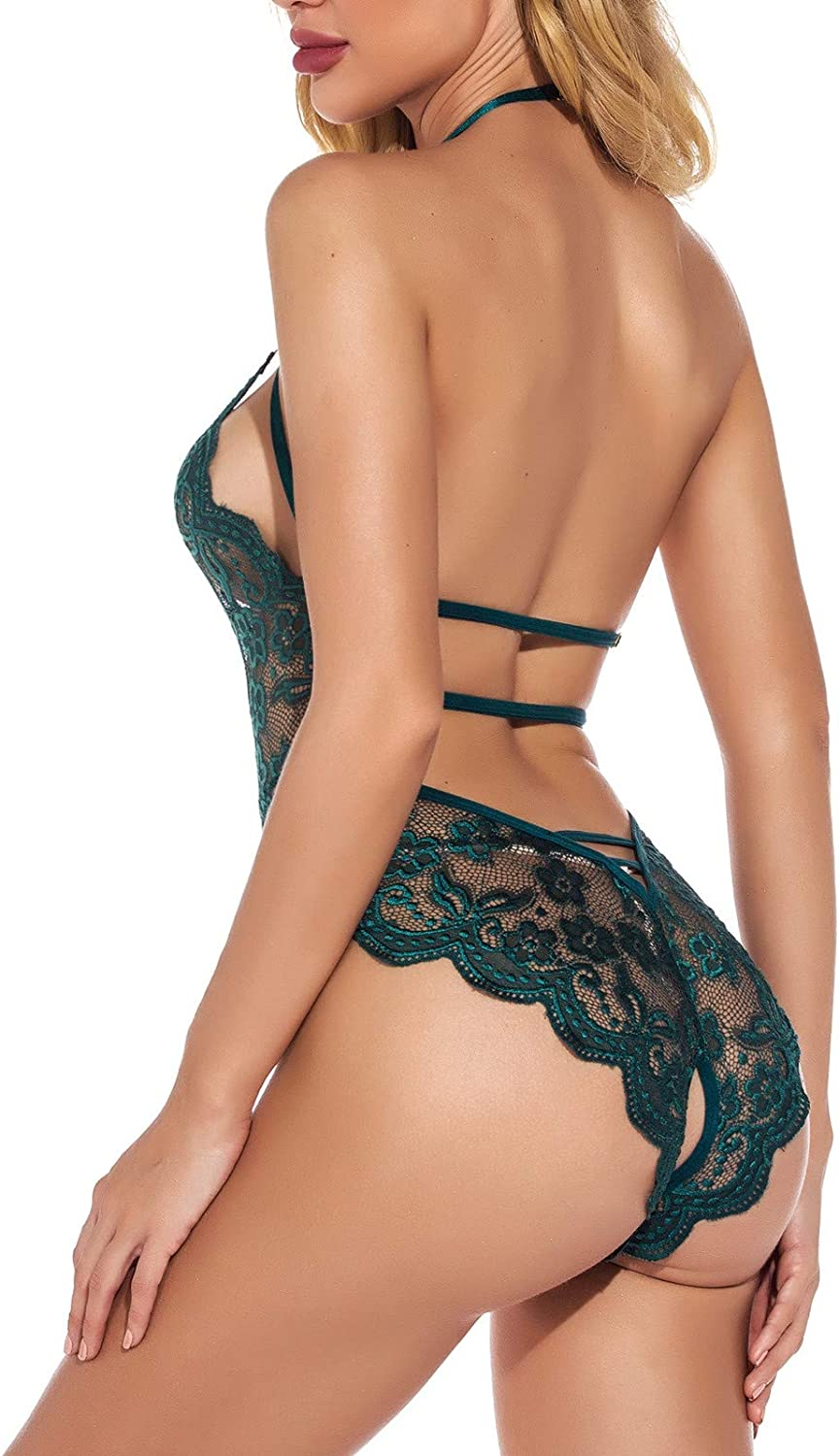 Forwelly Sexy Lingerie for Women,Sheer Mesh Lace One Piece High Cut Bodysuit,V Neck Backless Floral Halter Bobyboll