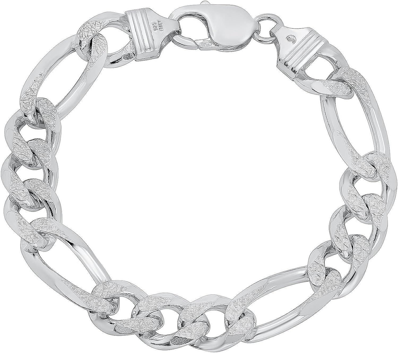 10.7mm .925 Finally resale start Sterling Silver Diamond-Cut Overseas parallel import regular item Chain Flat Figaro Bracel