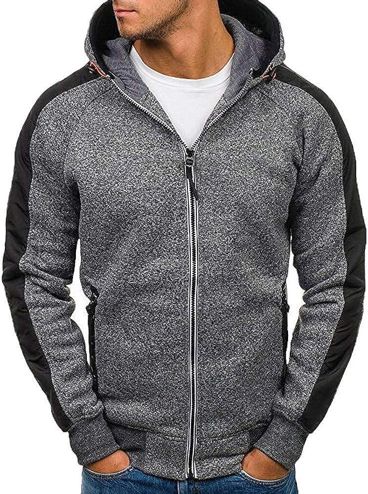 Men Hooded Zipper Patchwork Long Sleeve Solid Hoodies Coat Hip Hop Outdoor Active Slim Fit Hoodies