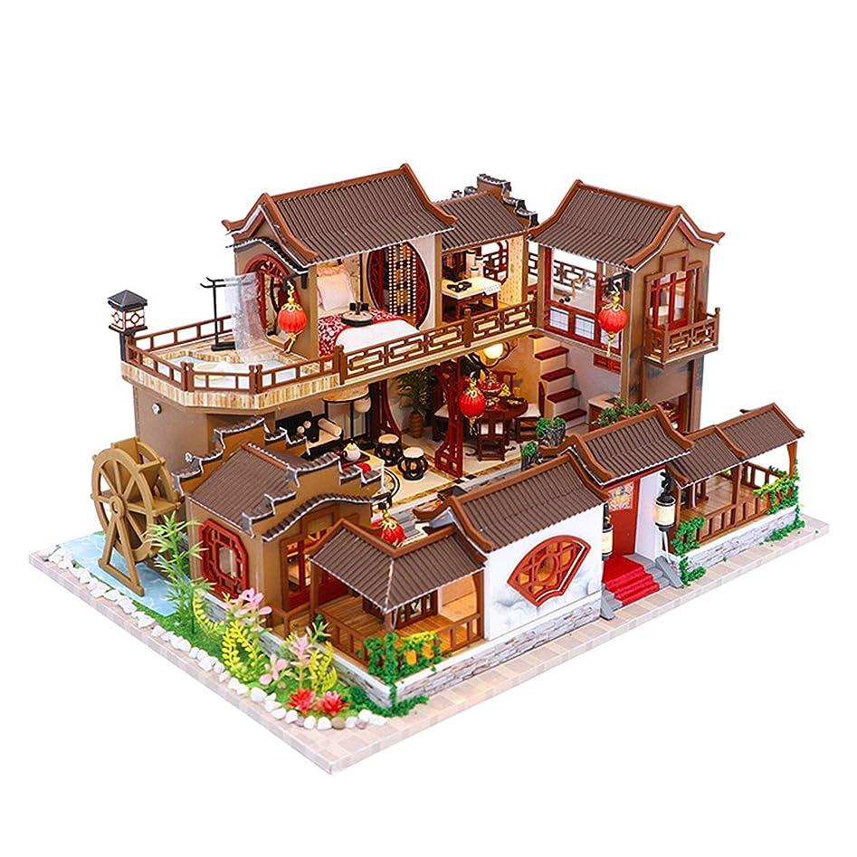 壁紙ダーリンピンドールハウスDiyミニチュアルームセット、中国の中庭ミニチュア家具| 組み立てモデルのおもちゃDiyドールハウスキット、新年の贈り物用のダストカバー付き