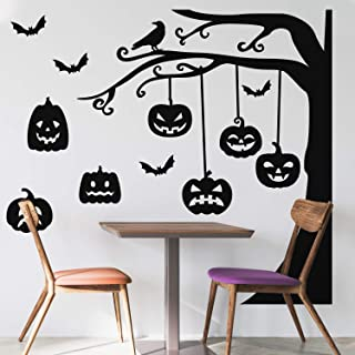 "Vinyl Wall Art Decal - Graveyard Tree & Pumpkin - 60"" x 43"" - Trendy Scary Fun Halloween Design Sticker for Living Room Ki..."