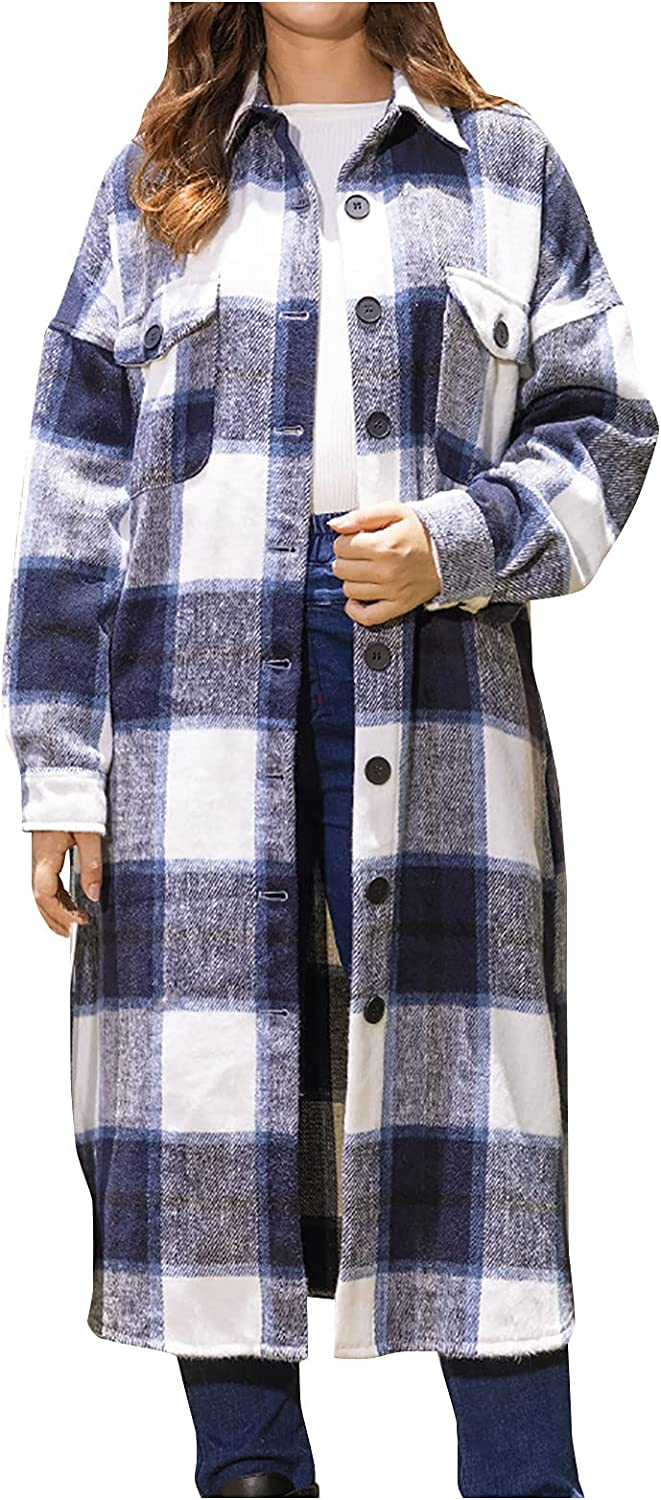Women's Plaid Wool Blend Coat with Pocket Lapel Button Jacket Trench Peacoat Casual Irregular Hem Overcoat