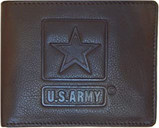 US Armed Forces RFID Men's Genuine Leather Wallets Gift Boxed Fold ARMY NAVY MARINES AIRFORCE