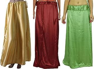 Women Saree Petticoat Satin Silk Underskirt Lining for Sari(pack of 3)