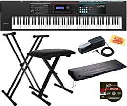 Roland Juno DS-88 Synthesizer Bundle with Roland DP-10 Damper Pedal, Adjustable Stand, Bench, Dust Cover, Austin Bazaar Instructional DVD, and Polishing Cloth
