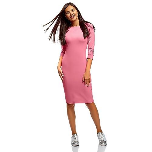 oodji Ultra Mujer Vestido Entallado con Escote Barco