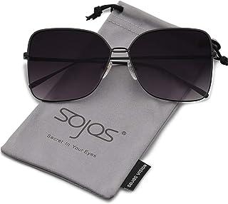 58c9b486dd SOJOS Fashion Oversized Square Sunglasses for Women Flat Mirrored Lens  SJ1082