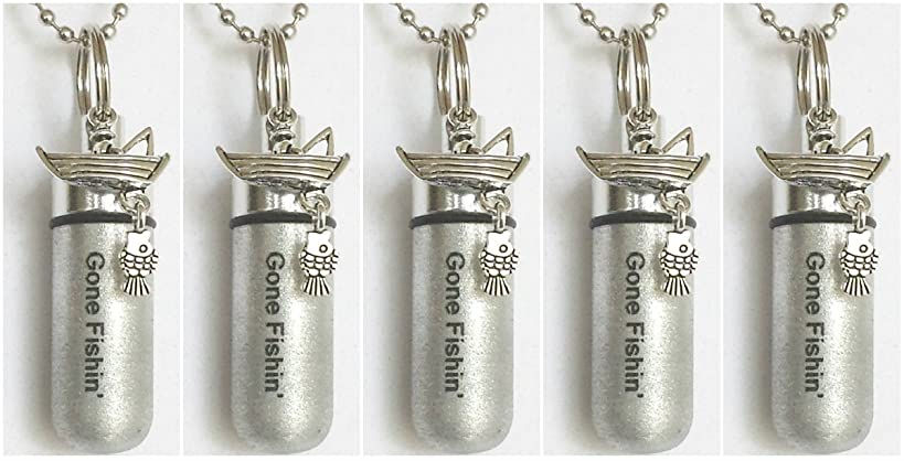 Pasco Specialty Products Unique Set of Five Engraved Gone Fishin' Brushed Silver Fisherman in Boat Cremation URN Keepsakes with 5 Velvet Pouches, 5 Ball-Chains & Fill Kit