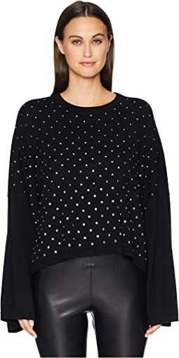 Wide Sleeve Pullover with All Over Rhinestones