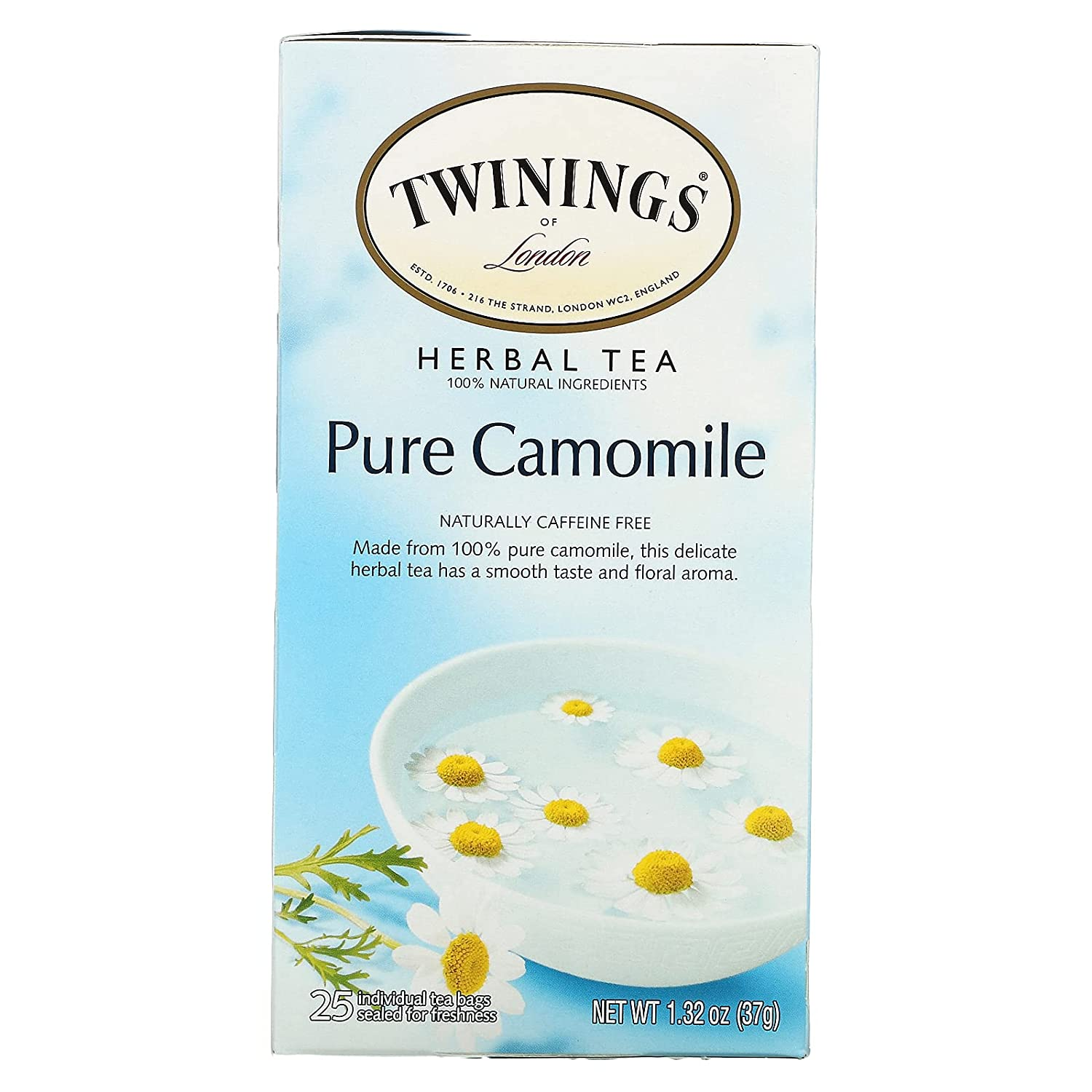 Twinings Max 85% OFF Quantity limited of London Pure Camomile Tea Bags Count 25 Herbal