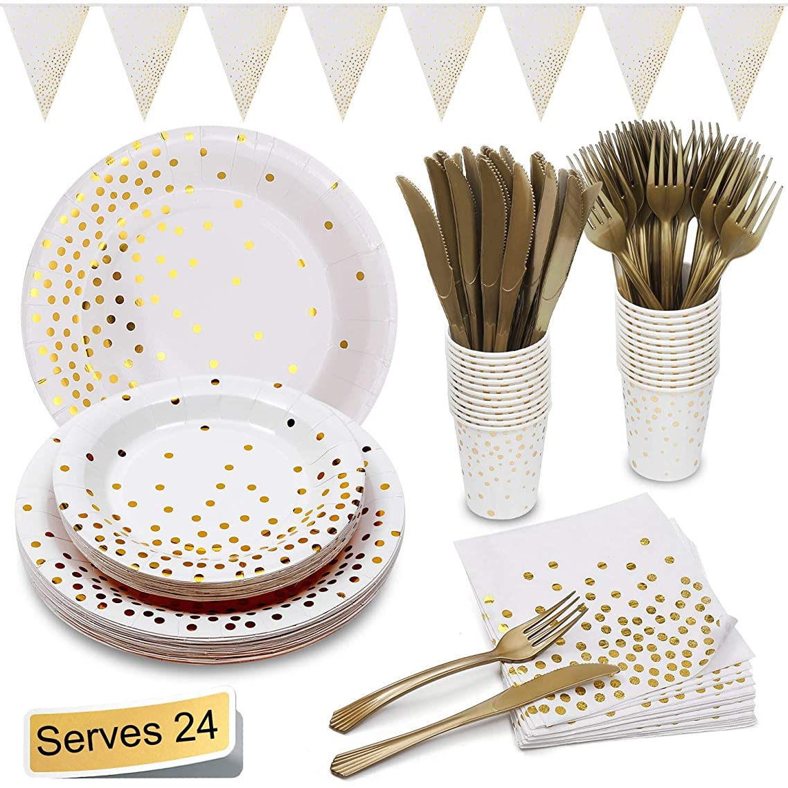 """White and Gold Party Supplies Golden Dot Decoration Party Set Includes 7""""&9"""" Paper Plates Napkins Knives Forks Cups Banner for Bridal Shower, Engagement, Wedding, Housewarming, Serves 24"""