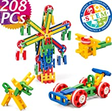 cossy STEM Learning Toy Engineering Construction Building Blocks 208 Pieces Kids Educational Toy for Boys and Girls Ages 3 4 5 6 7 8 9 Year Old (208 Pcs)