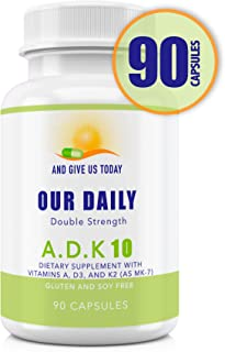 Our Daily Vites ADK 10 Double Strength (10,000 iu) 90 Count Vitamins A1, D3 & K2 (as MK7) - Physician Formulated Bone, Heart & Immune System Support - Gluten Free,None GMO Vegetarian Capsules