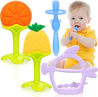 Odlila Baby Teething Toys Set/Baby Teether Chew Toys/Natural Organic Freezer Safe for Infants and Toddlers/ BPA-Free Teether Set for Boys & Girls