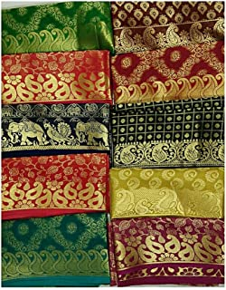 Adaa Women's Sequined Self Designed Unstitched Banarasi Blouse Pieces with Heavy Border (Multicolour, Free Size) - Pack of 5