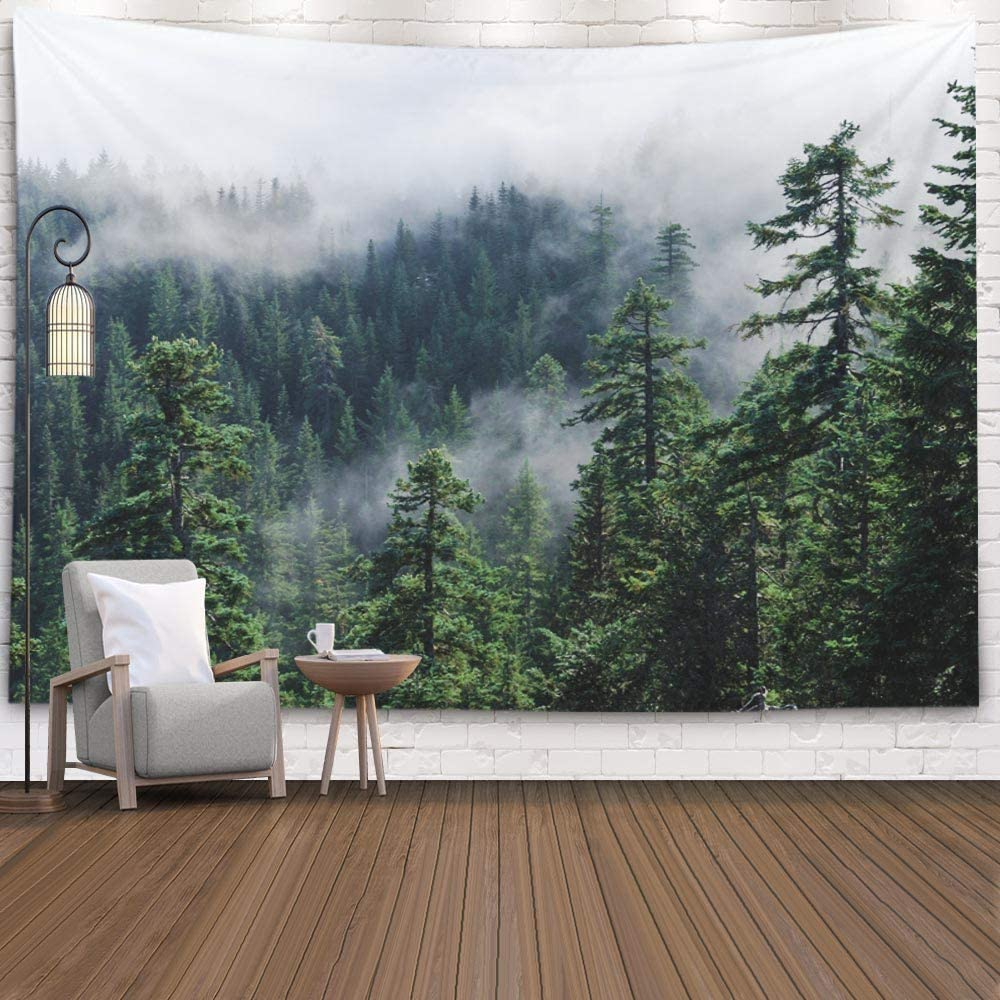 Crannel Fog Mountain Misty View Mount USA Pacific Northwest Forest Larch Oregon Wall Art Tapestry Blanket 60X60 Inches for Bedroom Home Dorm