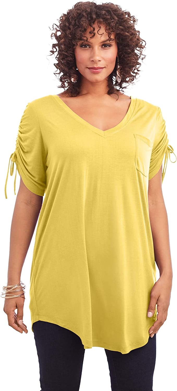 Roaman's Women's Plus Size Ruched-Sleeve Ultra Femme Tunic Long Shirt